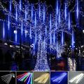 Mchoice Shower Lights Christmas Lights LED Falling Rain Lights 30cm 4pcs Icicle Snow Raindrop Outdoor String Lights for Christmas Trees Holiday Decoration Wedding Party Patio Garden