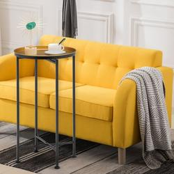 ROBOT-GXG Small Side Table - Metal Tray End Table - Small Round Metal Tray End Table Foldable Sofa Side Table Anti-Rust Outdoor Indoor Snack Table Accent Coffee Table for Living Room