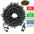 LED Christmas String Lights Outdoor Tree Lights 105Ft 300LED UL Certified End-to-End Plug, 8 Modes Waterproof Outdoor Indoor Fairy Lights for Christmas Tree, Patio, Wedding, Party(Warm White)