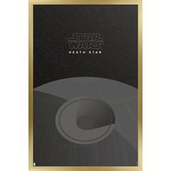 """Trends International Star Wars: Saga - S. Preston Minimalist Death Star Wall Poster 24.25"""" x 35.75"""" x .75"""" Gold Framed Version"""
