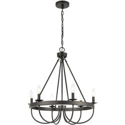 Overhill Road - 6 Light Chandelier in Traditional Style - 28 Inches tall and 25 inches wide Black