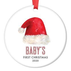 """Baby's First Christmas Ornament 2020, Gender Neutral Santa Hat Baby's 1st Christmas Unisex Baby Boy or Girl Ceramic Present Baby Shower Keepsake Mom 3"""" Flat Porcelain with Red Ribbon & Free Gift Box"""