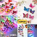 24/12PCS Luminous Butterfly 3D Wall Sticker, LED Auto Color Changing DIY Home Wall Decoration Night Light Butterfly Sticker Wall Decals Removable for Wall Art Decoration Kids Room Bedroom Living Decor