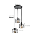 Pendant lamp Light/Light Industrial Semi Mount Pendant Light, 3 -Light Cage Haning Light Cluster Ceiling Chandeliers Pendant Light Fixture for Kitchen Isand, Dining Room,Living Room,Stariway