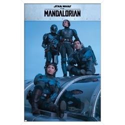 "Trends International Star Wars: The Mandalorian Season 2 - Mandalorian Group Wall Poster 16.5"" x 24.25"" x .75"" White Framed Version"