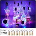 Aluan Wine Bottle Lights with Cork 15LED 10 Pack Bottle Lights Battery Powered Wine Cork Lights String Lights for Party Wedding Christmas Festival Decoration, Colorful