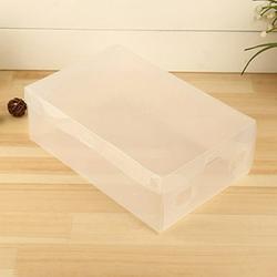 SPRING PARK 10 Pcs Plastic Shoe Storage Box Stackable, Clear Foldable Shoe Organizer