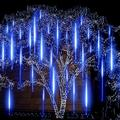 VONTER Falling Rain Lights Certified Meteor Shower Lights,10 Tube 360 LEDs Rain Drop Lights Snow Falling Lights Cascading Icicle String Lights for Christmas Halloween Tree Garden Outdoor,Blue
