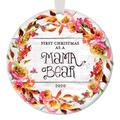 """First Christmas as a Mama Bear Ornament 2020, 1st Xmas as a Mother New Baby Daughter Son Mommy Newborn Floral Circle Ceramic Present 3"""" Flat Porcelain with White Ribbon & Free Gift Box OR00448"""