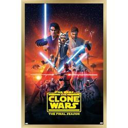 "Trends International Star Wars: The Clone Wars - Season 7 Key Art Wall Poster 16.5"" x 24.25"" x .75"" Gold Framed Version"