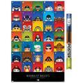 "Trends International MLB League - S. Preston Mascot Grid 20 Wall Poster 22.375"" x 34"" Premium Poster & Clip Bundle"