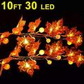 30 LED 10ft Maple Leaves Pumpkin String Lights Thanksgiving decor Fall Garland with Light Indoor Outdoor Decoration String Light Waterproof 3AA Battery Operated for Autumn Harvest Halloween Decoration