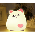 Portable LED children's night light for children, soft silicone baby night light with touch sensor, cat night light with USB charging port, animal light