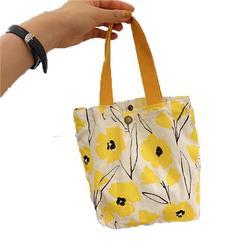 Yinke Literary Broken Flower Mini Canvas Bag Casual Lady Handbag All-match Handbag Large Capacity Canvas Bag