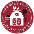 Family Farm Family Owned,Round Metal Tin Sign 12x12 Inch,Retro Home Kitchen Farm Bar Pub Wall Decor