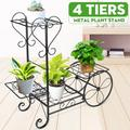 Vintage Parisian Style Cart Plant Stand with 4 Tiers Display Shelf Flower Planter Pot Holder Organizer for Small Potted Plants Indoor Outdoor Patio Home Garden