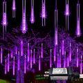 JMEXSUSS Purple Meteor Shower Rain Lights 50cm 8 Tubes 288 LED Falling Rain Decoration Lights, Icicle Snow Cascading Fairy String Lights for Halloween Christmas Tree Holiday Party Patio Decor?