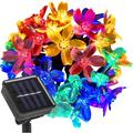 Outdoor Solar Flower String Lights Multi Color Changing Blossom Solar Fairy Christmas String Lights 30 LED 23 Feet Sakura Flower Lights with 8 Flash Changing Modes Christmas/Patio/Garden/Party