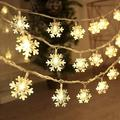 19.68ft 40LEDs Snowflake String Lights, Waterproof LED String Lights with 2 Modes, Warm Fresh String Lights for Wedding Party Christmas Bedroom Decoration, Battery Operated LED Lights, Yellow, L0054