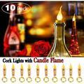 Flame Cork String Lights for Wine Bottle,6.6ft 20 LED String Lights Cork Shape Mini Fairy String Candle Light for Party,Christmas,Halloween,Wedding,DIY Decor - 10 Pack