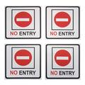 No Entry Signs - 4-Pack Metal No Trespass Signs, Aluminum Private Property Signs, Self-Adhesive, Ideal for Office, Retail, Restaurants, Indoors and Outdoors, 5.5 x 5.5 inches