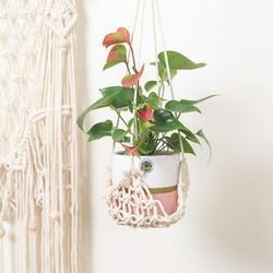 Patgoal Bohemian Macrame Plant Hanger/ Plant Hangers Indoor/ Plant Hanger/ Hanging Plant/ Plastic Plant Pots Hanging Pots for Plants Macrame Plant Hanger with Pot Included Hanging Pots for Plants