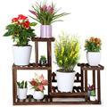 Wood Plant Stand Indoor Outdoor Multiple Flower Pot Holder Shelf Rack Higher and Lower Planter Display Shelving Unit in Garden Balcony Patio Living Room(7-9 Flowerpots)
