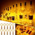 Led Bottle Light 12 Pieces, Light 20 Led 100cm Warm White Light Chain Copper Wire Battery Operated Wine Bottle Lights with Cork String Light for Diy Decoration Christmas Party Holiday Mood Lights