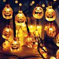 Halloween Pumpkin String Lights, Solar String Light,20ft 30 LED Outdoor Decorative Lights for Patio, Garden, Gate, Yard, Halloween Christmas Decoration (IP65 Waterproof,Warm White)