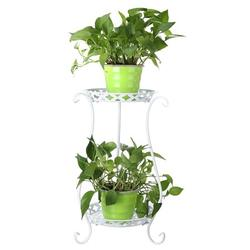 2 Tier Metal Plant Stand Round Flower Pot Rack Planter Holder Modern For Garden Patio Indoor/Outdoor Decor 5.31*5.31*5.11inch ( Black / White )