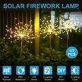 LITOM 1Pcs Solar Lawn Light 90/120/150 LED Firework Starburst Fairy Lights Stake IP65 Waterproof 2 Lighting Modes Light Control Outdoor Garden Path Lawn Lamp