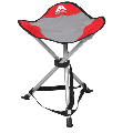 Ozark Trail Tripod Camp Stool with Carry Strap, Armless, 3 Legs, 17.5 inch Seat Height, Polyester, Red
