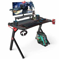 Gaming Desk, 44 Inch Gaming Table for PC, Racing Style Office Desk Student PC Desk Computer Desk with Cup Holder, Headphone Hook for Home Office, Black and Red