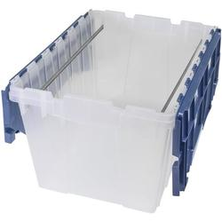 """Akro-Mils 66486FILEB 12-Gallon Plastic Storage Hanging File Box Set with Attached Lid, 21-1/2"""" by 15"""" by 12-1/2"""", Semi-Clear, Pack of 1"""