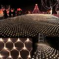 LED Net Mesh String Fairy Light Warm White, 9.8ft x 6.6ft 204 LEDs 8 Modes, LED Indoor Outdoor String Lights Waterproof Wedding Party Garden Room Christmas Holiday Decorative Light