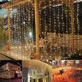 300 LED Warm White String Fairy Lights Romantic Christmas Wedding Hanging Wall Light Outdoor Decoration Curtain String Light 10ft*10ft