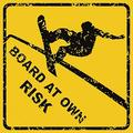 FabricMCC Metal Warning Sign Board at Own Risk Snowboarding Aluminum Metal Road Street Sign 12X12 Inches