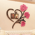 Family Photo Frame,Collage,Love, 3D Sticker, Wall Decoration,Sticker with two photo frames, for bed, living room, home decorations with two photo frames (3In)