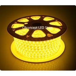 Cbconcept 90Ft Yellow 120 Volt High Output Led Smd5050 Flexible Flat Led Strip Rope Light - [Christmas Lighting, Indoor / Outdoor Rope Lighting, Ceiling Light, Kitchen Lighting] [Dimmable] [Ready To U