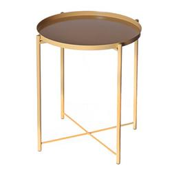 Tray Metal End Table, Small Round Side Tables,Metal Nightstand, Sofa Side Snack Table with Removable Tray for Living Room Bedroom Outdoor & Indoor