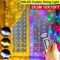 Twinkle Star 300 LED Window Curtain Lights, 9.8 Feet Christmas Rainbow RGB Color Changing 8 Lighting Modes with Remote, Colorful Icicle String Light for Wedding, Party, Outdoor Indoor Decor