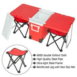 Camping Cooler Cart with Picnic Table&Folding Chair, Portable Cooler Table for Camping, Indoor Outdoor Kitchen Picnic Folding Cooler Table, Upgraded Stool w/Carrying Bag, Blue