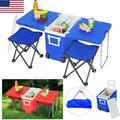 Multi Function Upgraded Outdoor Rolling Cooler Picnic Table Multi Function for Picnic Fishing Portable Storage Food Beverage Included Foldable Table W/Two Chairs Camping Trip Cooler Red
