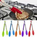 5pcs Stainless Steel Silicone Tip Tongs Barbecue Locking Tongs Serving Clip BBQ Grill Baking Salad Steak Vegetable Pasta Kitchen Tool(Random Color)