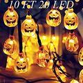 smylls Halloween String Lights, 10 Feet 3D Jack-O-Lantern Pumpkin Lights, Fairy String Lights,Halloween Decorations for Indoor Outdoor,Warm White