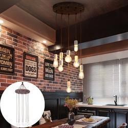 Vintage Pendant Lamp Retro Wood Chandelier, 8 Light Hanging Lamp Pendant Lamp Iron Lamp Industrial Lamp Loft Ceiling Light