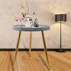 Round Side Table, Metal End Table, Indoor & Outdoor Snack and Coffee Table, Tea Sofa Table for Living Room, Nightstand, Side Table for Small Spaces, Anti-Rust and Waterproof, Grey