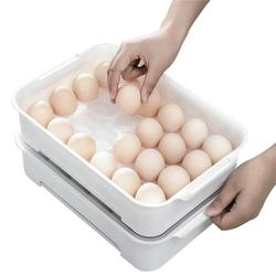24 Grids Egg Trays with Spill-Resistant Removable Lid Clear Egg Holder Storage Container Collapsible Egg Carrier Food Storage Container with Egg Holder Trays Home