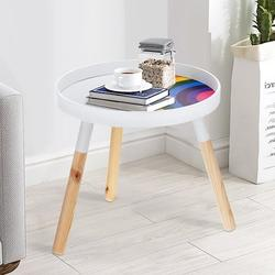 Round Side Table, Wood Tea Table, Indoor & Outdoor Snack and Coffee Table, Tea Sofa Table for Living Room, Nightstand, Side Table for Small Spaces