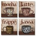 Fun, Trendy Animal Print Mugs; Latte, Frappe, Mocha, and Java Signs; Kitchen Décor; Four 8 by 8-Inch Mounted Prints; Ready to hang!